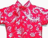 Vintage Little Girl Size 6 Cheongsam Chinese Red Silk Wiggle Dress Fine Chinese Clothing Frog Button Halloween Costume
