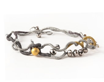 Irregular Spiral Shape Necklace,in Light and Dark Grey Silver and Golden Waxed Threads with Metallic Silver Beads