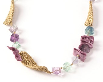 Golden Crocheted Necklace,Purple and Green Fluorite,Purple Velour Ribbon
