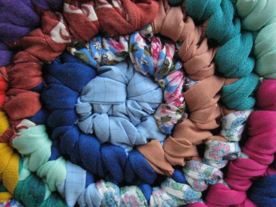 RESERVED for Waffie Colorful Hit and Miss Crochet Rag Rug from upcycled cotton