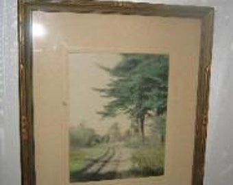 """Antique Early 20th Century Charles Higgins Road Landscape Hand Colored Photograph By: Photographer Charles Higgins """"The Old Pines"""""""