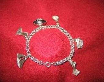 Estate Sterling Silver  Six Charm Linked Ladies Bracelet