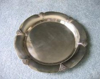 Antique 1900's Edwardian Rogers Silver Plated 13in. Formal Scrolled Edges Serving Platter Tray