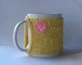 Knitted Mug Cozy - Yellow Checkered with Pink Sequin Heart