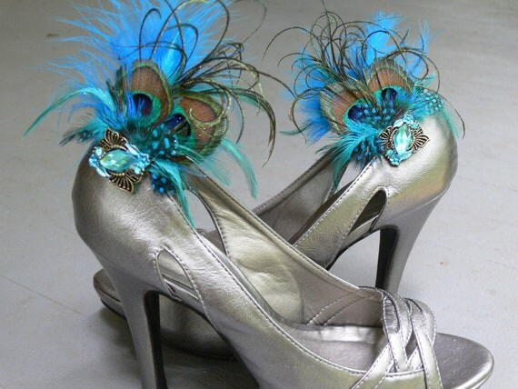 Aquamarine, Aqua, Teal, jeweled shoe clips with Peacock, furl, and matching feathers set of 2