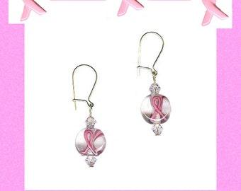 pink ribbon earrings glass bead