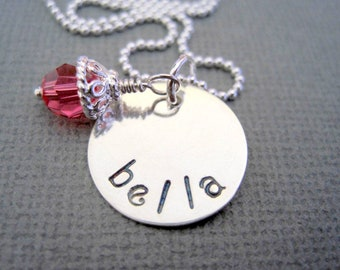 Bella necklace-hand stamped pendant-sterling silver name-girls jewelry-pink crystal-personalized jewelry-engraved bella pendant