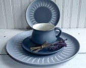 Retro- 60's Denby Blue Echo-Made In England-China 4-Piece Setting-Listing is for ONE Setting