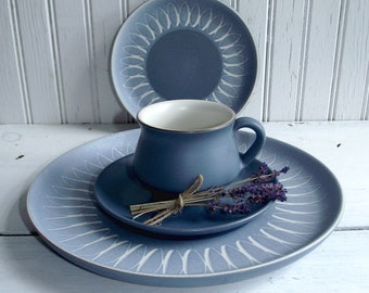 SALE-Retro- 60's Denby Blue Echo-Made In England-China 4-Piece Setting