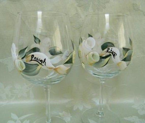 Wine glasses-Wedding wine glasses-painted wine glasses-painted white rosebuds-live laugh love