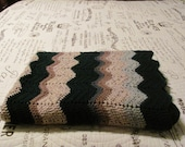 Afghan, throw in green, brown, and beiges in chevron pattern
