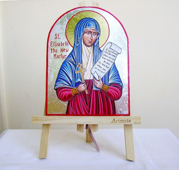St Elizabeth The New Martyr - Handpainted orthodox icon, original - 8 by 6 inches