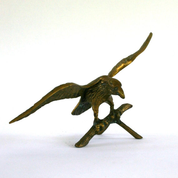 Winter Home Decor. Brass Eagle Statue. Figurine. Paperweight. Bookend. Desk Decor.  Study. Library. Office Decor. Wings. Perched. Patriotic.