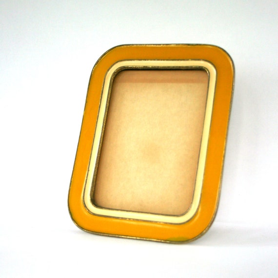 Antique Metal and Enamel Picture Frame. Mustard Yellow. Vintage Photo Frame. Brass. 5x7. Fall Autumn Home Decor. Art Deco.