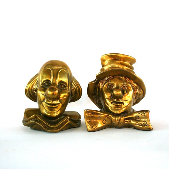 Brass Bookends. Clown. PM Craftsman. Vintage Bookends. Cry. Sad. Happy. Unisex. Office. Library. Decorative Childrends Bookends.  Gag Gift.