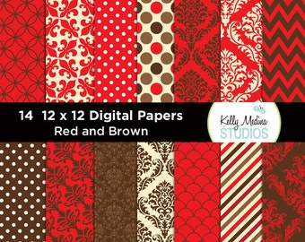 011A Red and Brown Damask - Designer Paper Pack - Digital Elements for Cards, Stationery, Backgrounds, Paper Crafts and Products