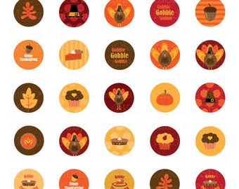 Thanksgiving -  1 inch Circle Digital Collage Sheet - Clip Art Commercial use for Cupcake Toppers, Magnets, Paper Crafts and Products