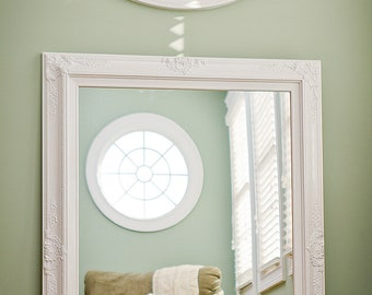"LARGE WHITE MIRROR For Sale 44""x32"" Vintage Inspired Extra Large Vanity Mirror Shabby Chic Mantel Bathroom Decorative Large Bedroom Mirror"