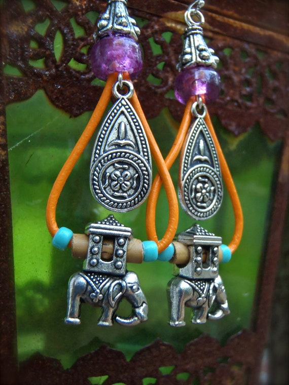 reserved HIPPIE GANESHA Earrings ELEPHANT earrings Indie Ethnic earrings Colorful earrings Gypsy Soul Bohemian earrings