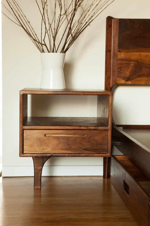 classic modern bed with storage and attached night stands danish mid century modern style bed
