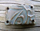 Smokey Blue Bracelet Focal - Handmade Ceramic Wrist Focal Bead