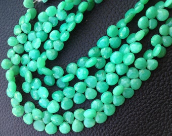 Very Rare, FULL Strand, Unique AAA CHRYSOPRASE Faceted Heart Shape Briolette,7-8mm, Great Item,Finest Quality