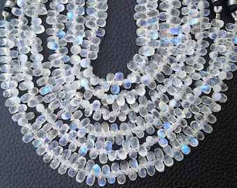 WOW,Full 8 Inch Strand,EXTRA Gorgeous Quality Blue Flashy Rainbow Moonstone Faceted Drops Shaped Briolettes, 6-7mm Long size,Limited Stock