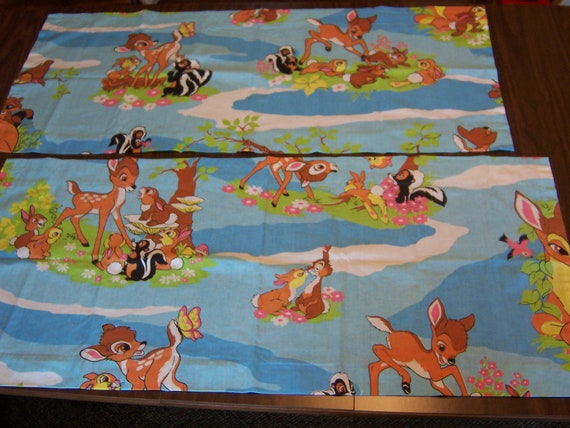RESERVED // SALE - adorable vintage Bambi & Friends pair of 2 curtain valances panels - material matches bedding