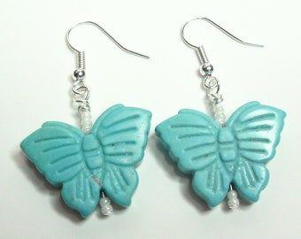 Blue Turquoise Butterfly Earrings With White Navajo TOHO Seed Beads And Silver Ear Wires