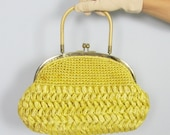 Vintage 1960's Sunny Yellow Straw Handbag Purse