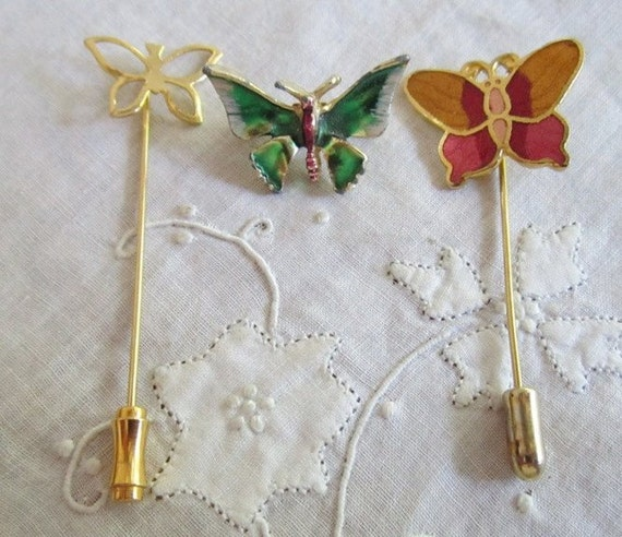 Vintage Gold Tone Colorful Butterfly Stick Pins and Butterfly Brooch
