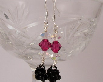 Black Rose Earrings, Pink Rose Earrings, Lolita Dangle Earrings, Fuchsia Roses, Swarovski Crystal, Clearance Sale