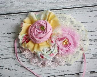 In Flight- pink and yellow chiffon flower, ruffle rosette and lace headband