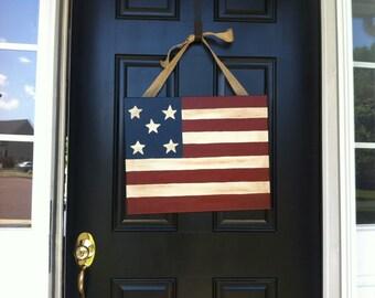 Primitive American Flag door painting