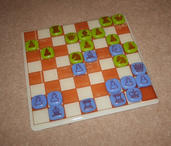 Glass Chess Set Board And Pieces