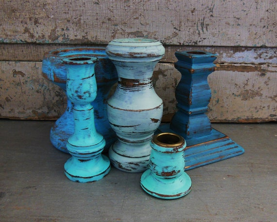 Wooden Candlestick Candle Holder Painted Sea Glass Collection
