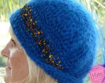 Original Blue winter hat women's crochet hat blue ski accessory women's fashion