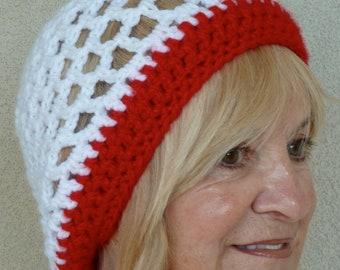 Women's crochet hat white red hat women's fashion