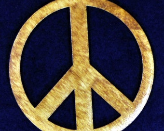 Wood Peace Sign Ornament