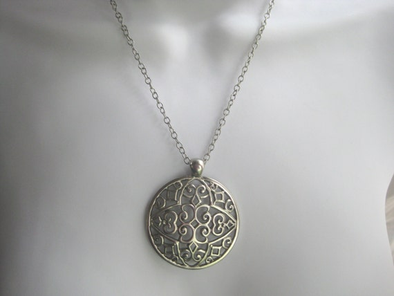 new listing-- Silver Tone Filigree Round Pendant on Long Chain.  Bold and Beautiful FREE Shipping
