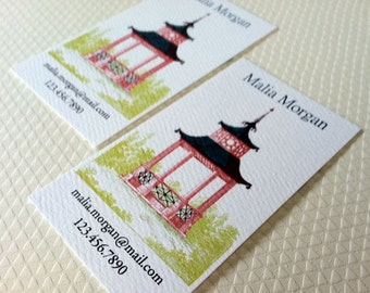Pagoda Business Cards Calling Cards - Set of 50