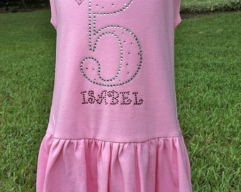 Girls Personalized Princess Crown Birthday Number Rhinestone Sleeveless Dress
