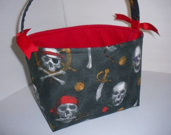 Red Black Skulls Pirate Bones Halloween Trick or Treat Bag / Tote- Personalization Available