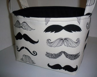 Organizer Bin / Fabric Basket - Silly Fun Mustaches- Where's My 'stache - Personalization Available