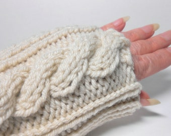 Knitted Thumbless Glove Mitts, Wrist Warmer, Fingerless Gloves
