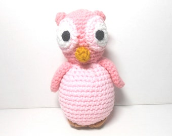 Owl, Pink Owl, Hand Crocheted Pink Owl