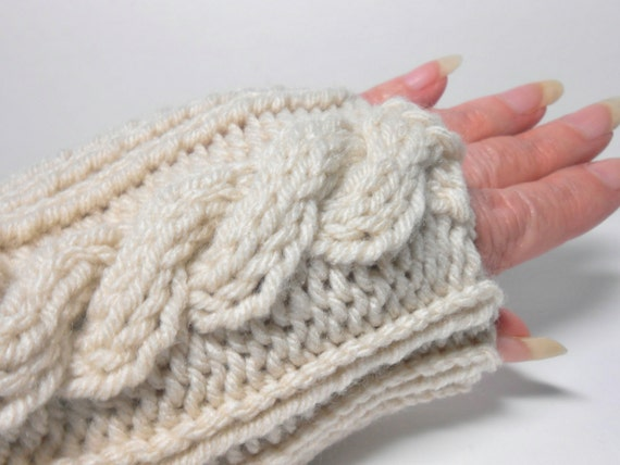 Knitted Thumbless Glove Mitts or Wrist Warmer