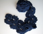 Crochet Dark Blue Queen Anne Scarf Ready To Ship 60 inches long