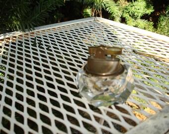 vintage crystal lighter japan brass top Hollywood regency
