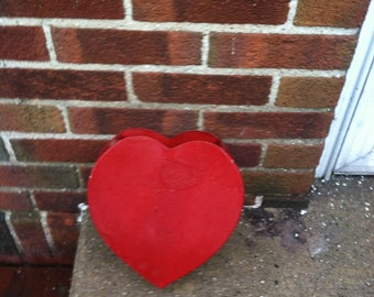 vintage wall hanging storage brass red heart